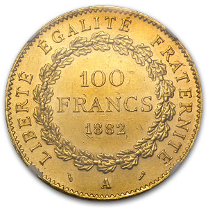 1882 France Gold 100 Francs Angel MS-61 NGC